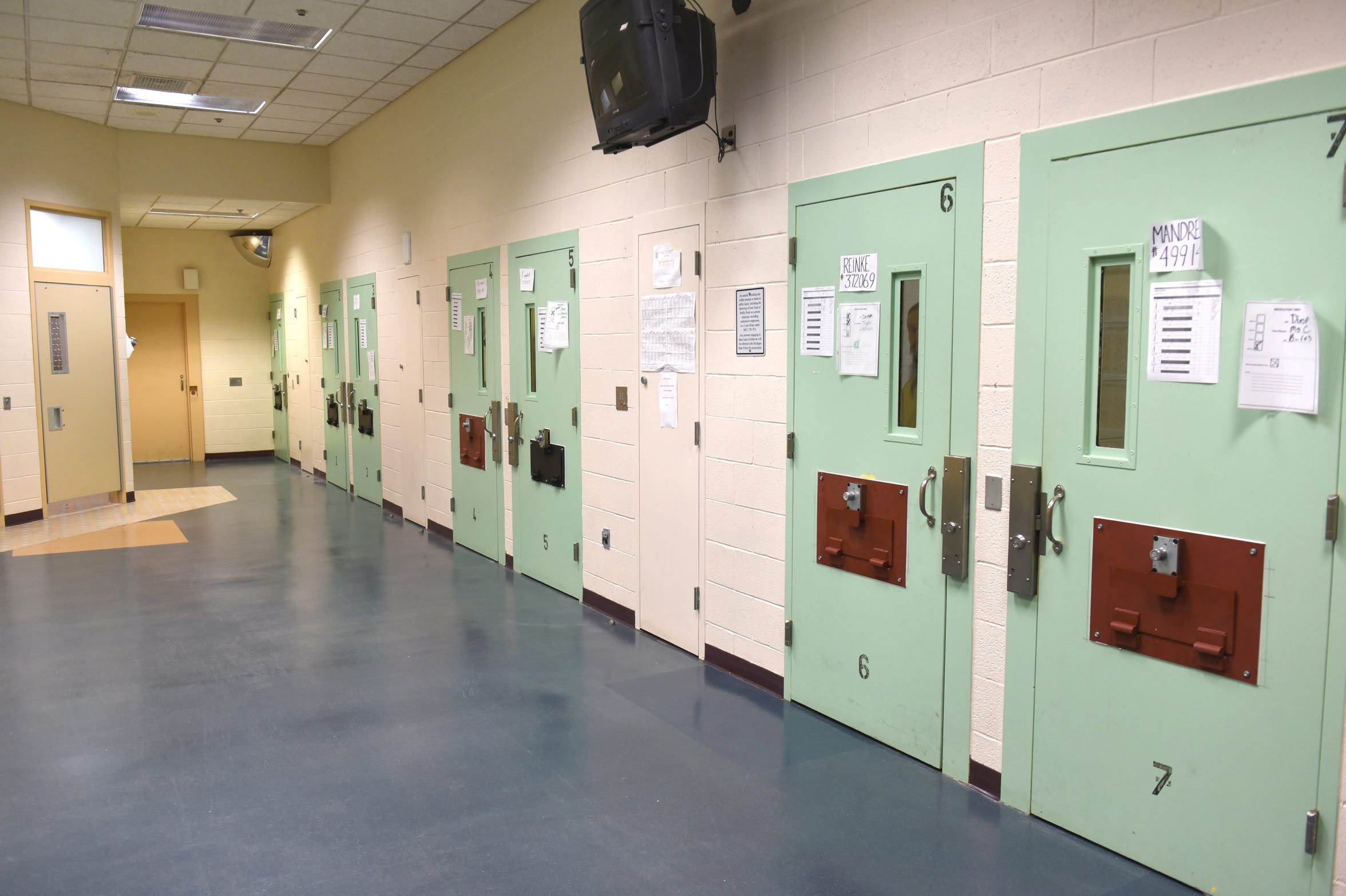 Inmates at Woodland Center Correctional Center, where Michigan's most mentally ill prisoners are treated, are locked in their cells between therapy and activity sessions.