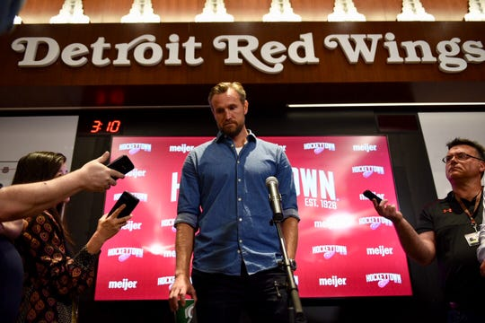 Niklas Kronwall meets with reporters Wednesday at Little Caesars Arena.