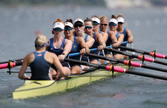 Watkins Glen's Olivia Coffey, fifth from left, competes for the United States during a preliminary at the 2019 World Rowing Championships on August 27, 2019 in Linz-Ottensheim, Austria.