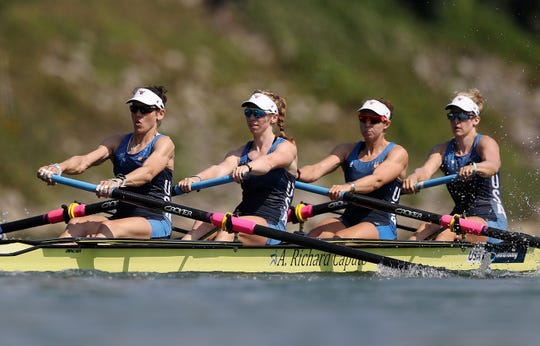 Ithaca's Caryn Davies, left, joins Madeleine Wanamaker, Victoria Opitz and Molly Bruggeman during a preliminary in the women's four on August 25, 2019 in Linz-Ottensheim, Austria.