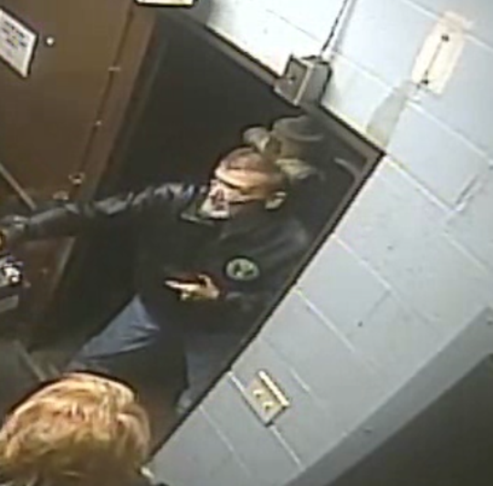 This a screen capture from surveillance video at VFW Post 1114  in  Evansville on the January night when John Burghardt entered with a gun and opened fire. Burghardt on Wednesday received a 30-year-sentence.