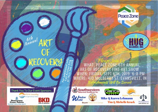Art of Recovery is Saturday from 6-8 p.m. at Peace Zone on Mulberry Street.