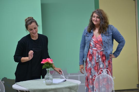 "Lexie, played by Blair Moon, always brings the best flowers. In this scene, she shares the stage with Eva Thelen, at right, as Sheree, in ""The Dixie Swim Club."""