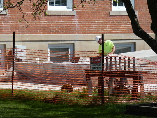 Work continues on the new ramp at the Sandusky County Courthouse. The project could be complete by the end of September.