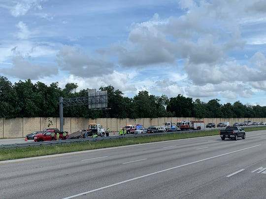 Traffic was backed up for miles on the I-75, after a two-car crash closed two northbound lanes Wednesday afternoon.