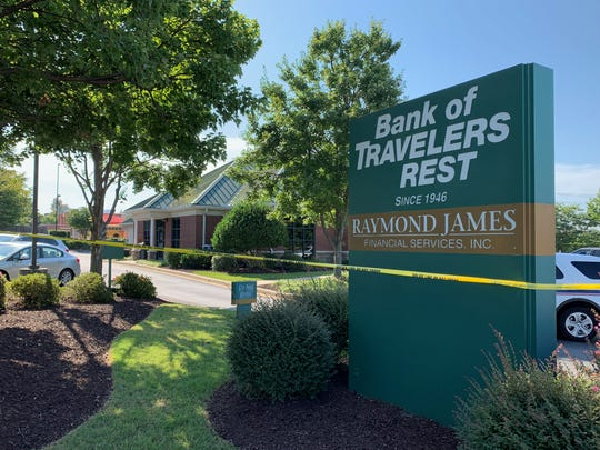 The Bank of Travelers Rest on Pelham Road was robbed Wednesday morning. A suspect was arrested a few minutes later at a nearby convenience store.