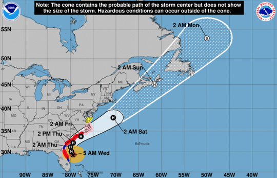 A 5 a.m. image from the National Hurricane Center shows the latest projected path of Hurricane Dorian. Wednesday, Sept. 4, 2019