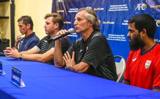 Petar Segrt, Maldives team head coach, addresses those in attendance during a press conference at the Guam Football Association National Training Center in Dededo on Wednesday, Sept. 4, 2019. After expressing his graditude for the warm reception recceived by him and his team since their arrival, Segrt added his disappointment after team members were deemed unable to participate in their competition against the Guam team, due to visa requirements.