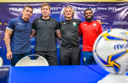 The head coaches and team captains of the Guam and Maldives gather together after a press conference held at the Guam Football Association National Training Center in Dededo on Wednesday, Sept. 4, 2019. From left: Jason Cunliffe, Matao captain; Karl Dodd, Matao head coach; Petar Segrt, Maldives head coach and Akram Abdul Ghani, Maldives team captain.