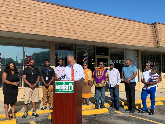 Republican mayoral candidate Sen. Jim Merritt was joined by concerned residents, clergy and community activists as he outlined his plans to fight violence in the cities highest-crime areas on Wednesday, Sept. 4, 2019.