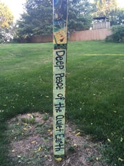 This garden pole can be found at First Presbyterian Church on Rochester Avenue.