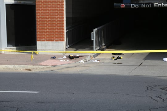 These objects were at the crime scene following a shooting outside the Green Street parking garage.
