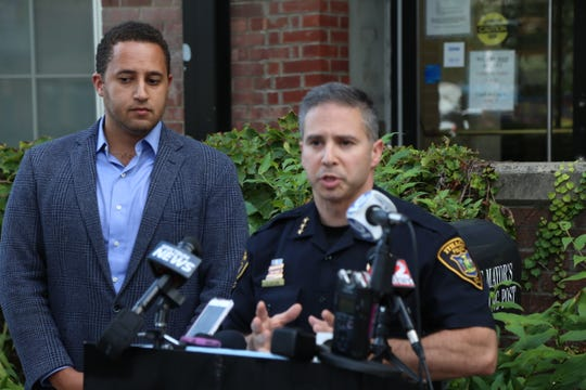 Ithaca Police Chief Dennis Nayor speaks at a press conference on Wednesday afternoon to release information about a shooting that had occurred outside the Green Street parking garage on Wednesday morning.