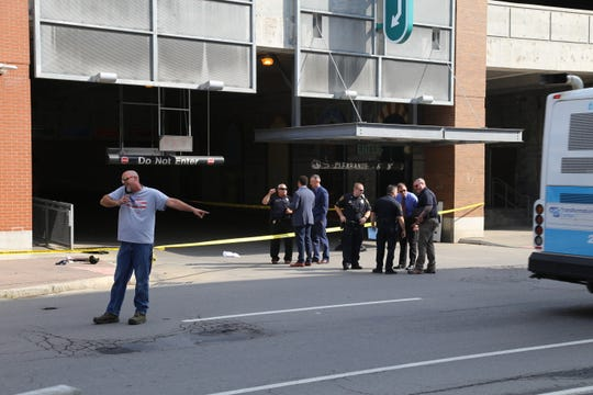 The scene outside the Green Street parking garage following a shooting on the morning of Wednesday, Sept. 4