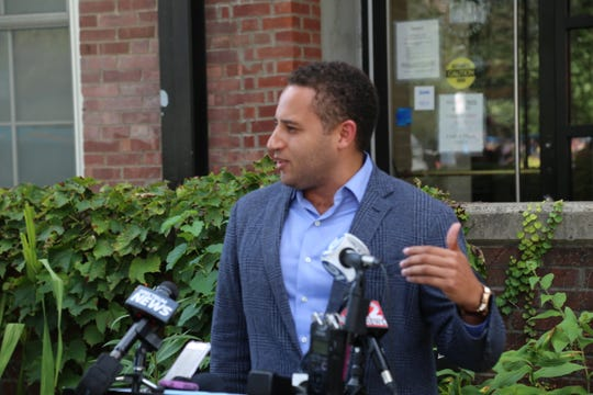 Ithaca Mayor Svante Myrick speaks at a press conference on the afternoon of Wednesday, Sept. 4, following a shooting that had occurred in the morning.