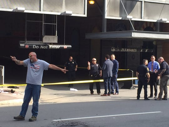 The scene outside the Green Street parking garage following a shooting on the morning of Wednesday, Sept. 4.