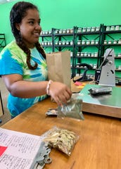 Lauren Lewis of Jackson, a sales associate at Rainbow Co-op in Northpark and a sophomore at Millsaps College, bags a purchase for a customer.