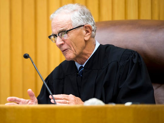 Senior Judge Walter Kurtz speaks during a hearing about a plea deal for George Thomas in Knox County Criminal Court on Wednesday, Sept., 4, 2019.