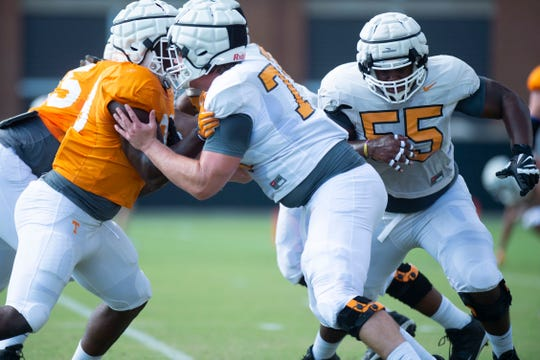 Tennessee offensive linemen Ryan Johnson (70) and Brandon Kennedy (55) at practice on Tuesday, September 3, 2019.