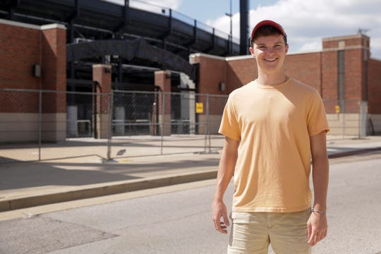 Josh Seals, the now junior marketing student who camped outside the Purdue student gate with Tyler Trent in 2017 prior to the Michigan game, stands for a photo outside the yet to be unveiled Tyler Trent Student Gate, Wednesday, Sept. 4, 2019 outside Ross-Ade Stadium in West Lafayette. The Tyler Trent Student Gate will be unveiled before Purdue's home opener against Vanderbilt on Saturday at 10 a.m.