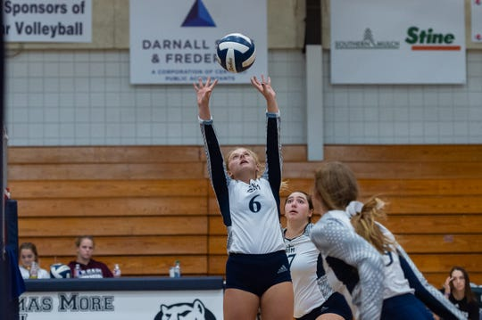 Cougars setter Georgia Hebert as Teurlings Catholic takes on St Thomas More Volleyball. Sept. 3, 2019.