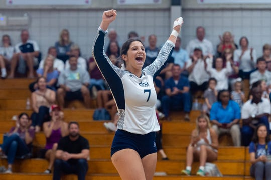 Anna Trahan celebrates as Teurlings Catholic takes on St Thomas More Volleyball. Sept. 3, 2019.