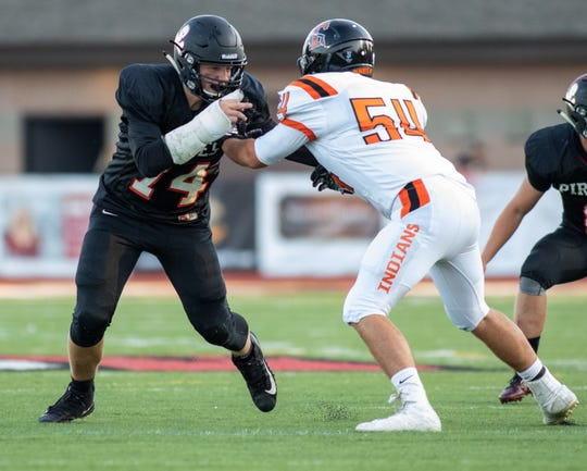 Sophomore Charlie Lovell hopes to follow in the footsteps of Pinckney's recent star defensive linemen.