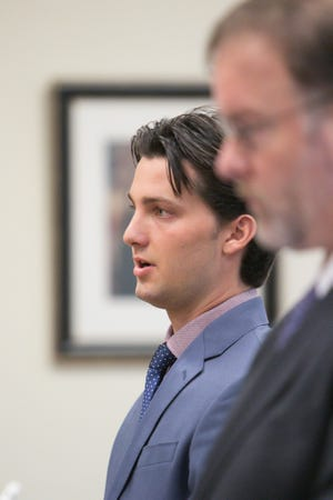 Zachary Lally responds to questions from Judge Michael Hatty in a hearing Wednesday, Sept. 4, 2019.