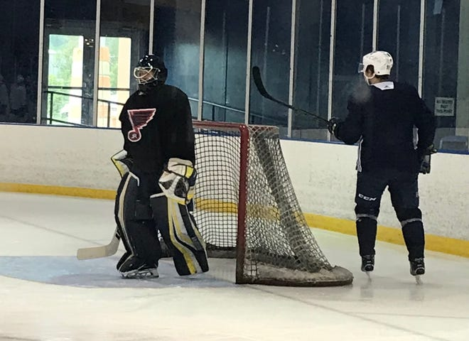 Brett Tome, a 2019 Hartland High School graduate, was a practice goalie for the St. Louis Blues on Tuesday, Sept. 3, 2019.