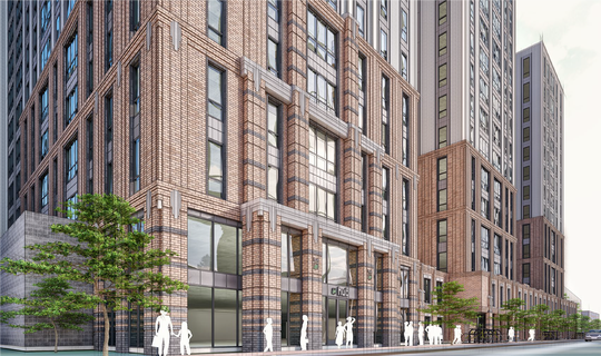 A street view of the south building. This concept package for the south building was submitted to the City of East Lansing on Aug. 14, 2019.   Developer: Core Spaces.   Architecture, Planning and Interior Design:  Antunovich Associates