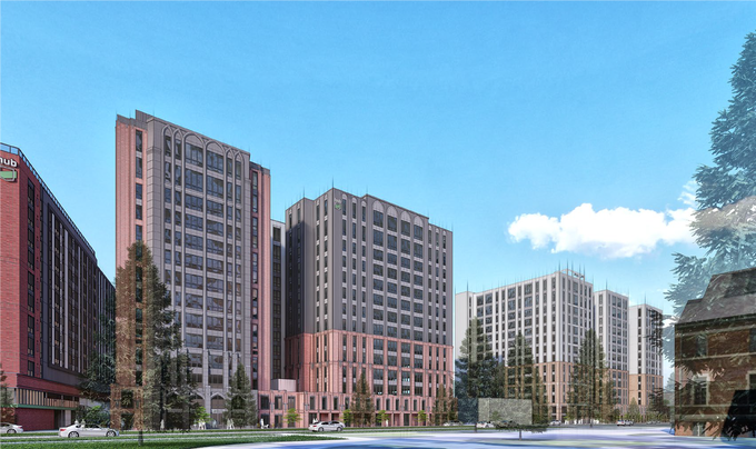A look across Bogue Street from the north building. This concept package for the north building was submitted to the City of East Lansing on Aug. 14, 2019.   Developer: Core Spaces.  Architecture, Planning and Interior   Design:  Antunovich Associates
