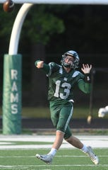 Madison quarterback Kaden Mullins attempts a pass during the Rams Week 1 game against Shelby.
