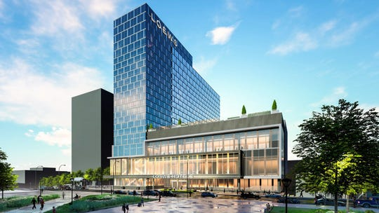 Rendering of the new Loews convention center hotel planned for 140 N. Main St.
