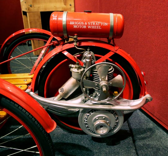 """The  Grohmann Museum on the MSOE campus, is  opening an exhibit of local engineering milestones called """"The Magnificent Machines of Milwaukee."""" Among the displays are a weird sort-of car built by Briggs & Stratton which started the company making tires, but switched to engines."""