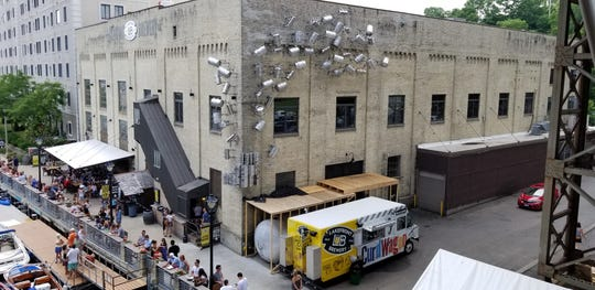 Lakefront Brewery replaced an ugly tent with an installation they call the Kegnado.