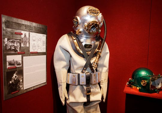 """he Grohmann Museum on the MSOE campus, is opening an exhibit of local engineering milestones called """"The Magnificent Machines of Milwaukee."""" Among the displays are Jules Verne-looking diving helmet and suit made by DESCO Corp."""