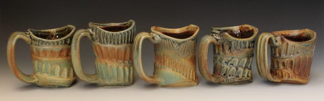 Carved stoneware mugs by David Dahlstedt are just one of man items featured on the 2019 Off the Beaten Path Studio Tour.