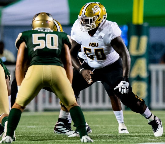 Alabama State offensive lineman Carl Thompson (60) against UAB at Legion Field in Birmingham, Ala., on Thursday August 29, 2019.