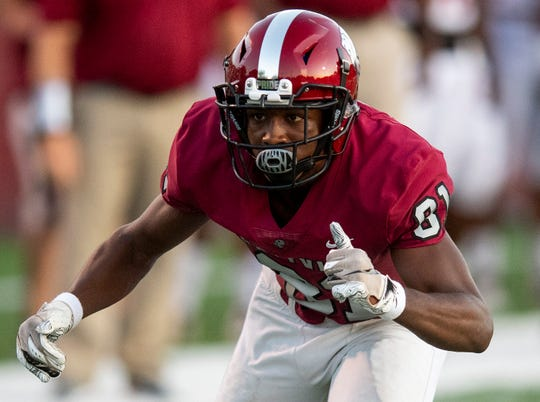 Prattville's Isaiah Causey (81) during the Stanhope game at Stanley-Jensen Stadium in Prattville, Ala., on Friday August 30, 2019.