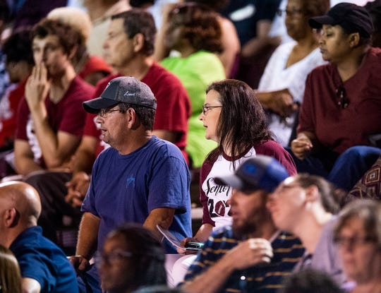 Terry and Marsha Causey watch the Prattville vs. Stanhope football game at Stanley-Jensen Stadium in Prattville, Ala., on Monday August 26, 2019. Their son Isaiah Causey plays for Prattville.