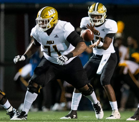 Alabama State offensive lineman Leeward Brown (71) against UAB at Legion Field in Birmingham, Ala., on Thursday August 29, 2019.
