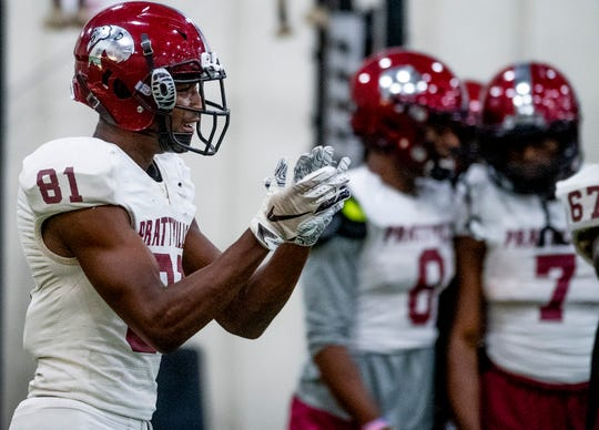 Isaiah Causey (81) encourages teammates as the Prattville Lions practice at the school in Prattville, Ala., on Monday August 26, 2019.