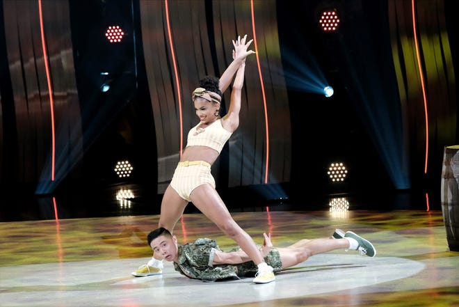 "Nashville native Mariah Russell, standing, and Bailey Munoz perform a jazz routine to ""Love Shack"" on the Fox show ""So You Think You Can Dance."""