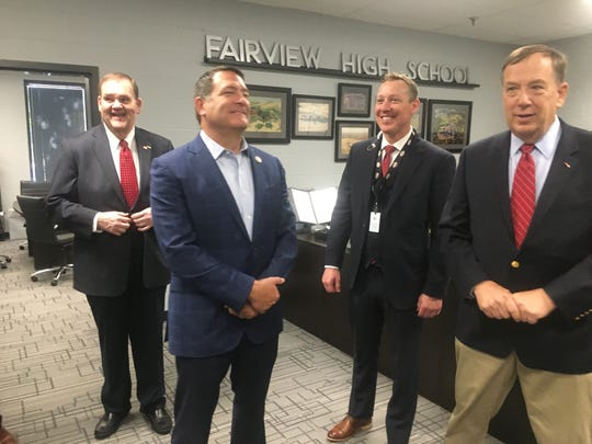 Locally-elected officials recently toured Fairview High School to learn about its College, Career and Technical Education programs. (Left) Fairview Mayor John Blade, U.S. Rep. Mark Green, Fairview High Principal Kurt Jones and state Rep. Sam Whitson, R-Franklin.