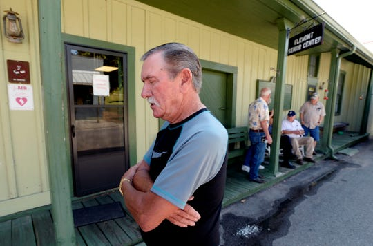 Elkmont resident Bobby Taylor talks about a shooting that left five members of a family dead, and about his community, while standing in front of a senior center on Wednesday, Sept. 4, 2019, in Elkmont, Ala. A 14-year-old boy called 911 Monday night and later admitted to authorities he killed his parents and three younger siblings, including a 6-month-old baby, in Elkmont, near the Alabama-Tennessee border.