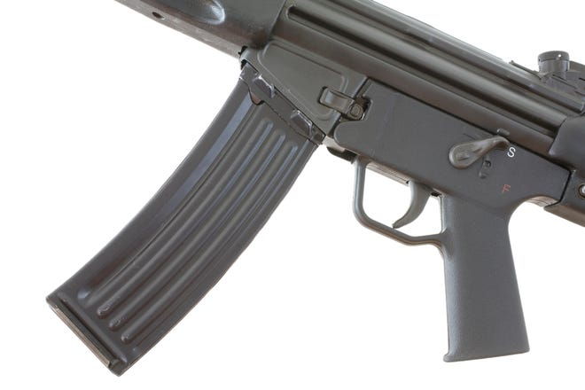 High capacity magazine that is attached to an assault weapon.