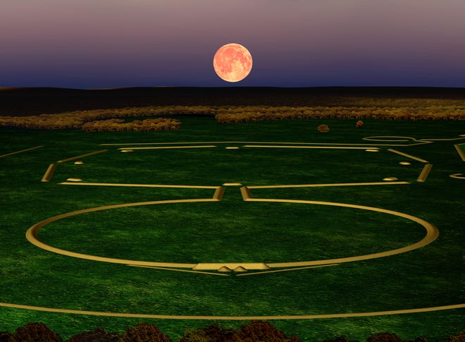 The axial alignment of the moonrise with Newark's Octagon Earthworks.