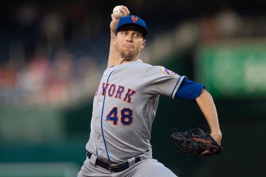 Sep 3, 2019; Washington, DC, USA;  New York Mets starting pitcher Jacob deGrom (48) delivers a pitch during the first inning against the Washington Nationals at Nationals Park. Mandatory Credit: Tommy Gilligan-USA TODAY Sports