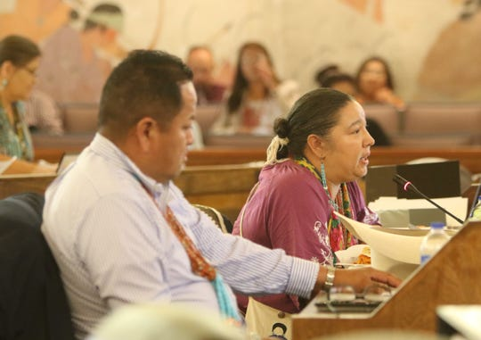 Delegate Amber Kanazbah Crotty remarks about a memorandum the tribal council received from President Jonathan Nez during the budget session on Sept. 3 in Window Rock, Arizona.