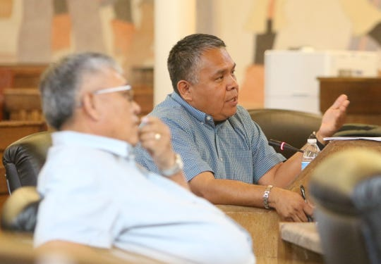 At right, Delegate Kee Allen Begay Jr. requests an amendment to the fiscal year 2020 budget during the Navajo Nation Council session on Sept. 4 in Window Rock, Arizona.